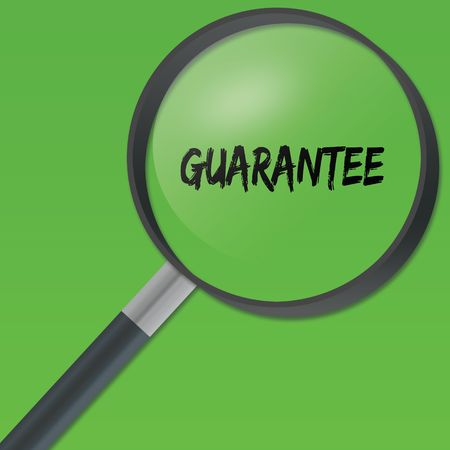 GUARANTEE text under a magnifying glass on green background. Illustration Stock Photo