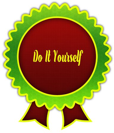 DO IT YOURSELF on red and green round ribbon badge. Illustration Stockfoto