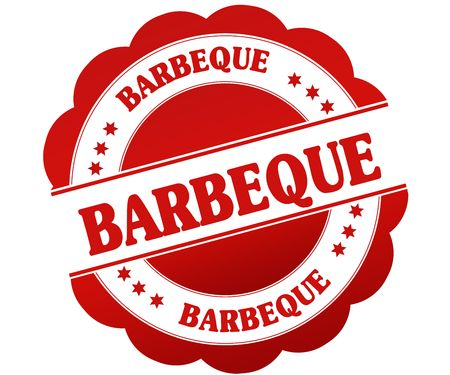 BARBEQUE red round rubber stamp. Illustration graphic concept