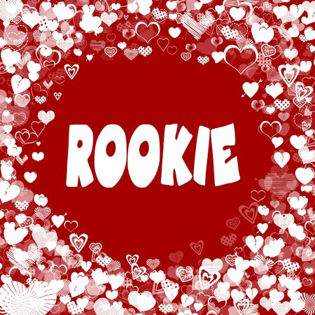 Hearts frame with ROOKIE text on red background. Illustration Stock Photo