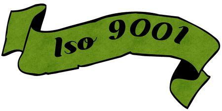 ISO 9001 green ribbon. Illustration graphic concept image