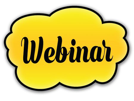 WEBINAR handwritten on yellow cloud with white background. Illustration