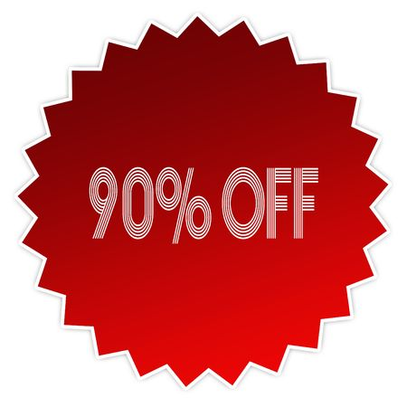 90 PERCENT OFF on red sticker label. Illustration graphic design concept image