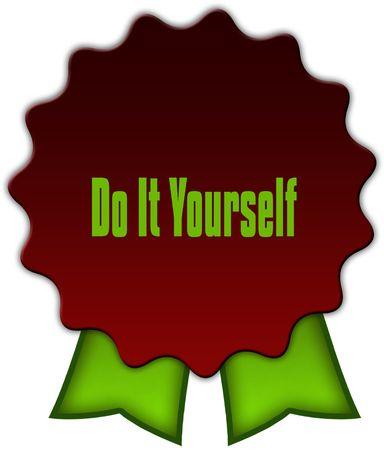 DOE HET ZELF op rode zegel met groene linten. Illustratie Stockfoto - 94181242