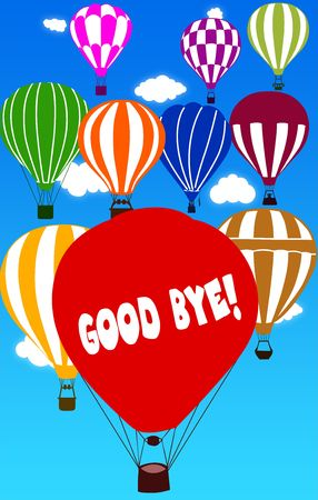 GOOD BYE   written on hot air balloon with a blue sky background. Illustration Stock Photo