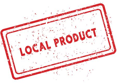 Red LOCAL PRODUCT rubber stamp. Illustration graphic image concept