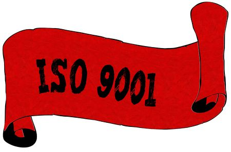 Red scroll paper with ISO 9001 text. Illustration concept