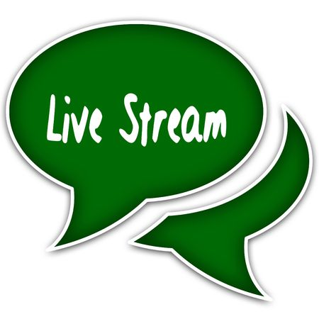 Green speech balloons with LIVE STREAM text message. Illustration Stock Photo