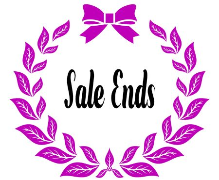 SALE ENDS with pink laurels ribbon and bow. Illustration concept