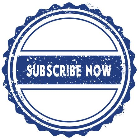 SUBSCRIBE NOW stamp. sticker. seal. blue round grunge vintage ribbon sign. illustration Stock Photo