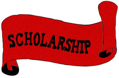 Red scroll paper with SCHOLARSHIP text. Illustration concept Foto de archivo