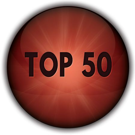 TOP 50 red button badge. Illustration image concept
