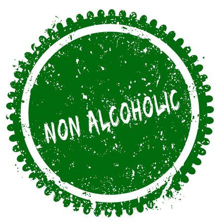 NON ALCOHOLIC round grunge green stamp. Illustration concept Stock Photo