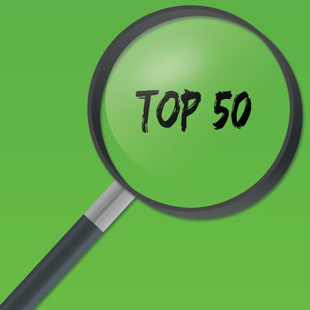 TOP 50 text under a magnifying glass on green background. Illustration