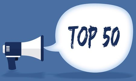 TOP 50 writing in speech bubble with megaphone or loudspeaker. Illustration concept