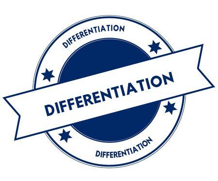 Blauwe DIFFERENTIATIE stempel. Afbeelding afbeelding grafisch concept