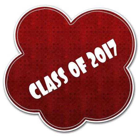Red pattern cloud with CLASS OF 2017 text written on it illustration.