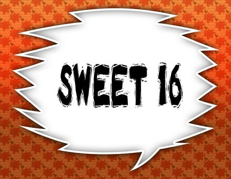 Speech balloon with SWEET 16 text. Flowery wallpaper background. Illustration