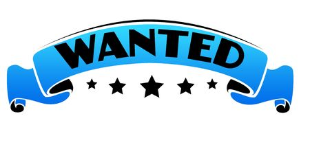 Blue band with WANTED text. Illustration graphic concept Stockfoto
