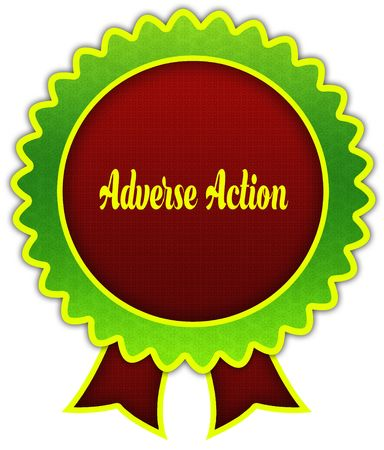 ADVERSE ACTION on red and green round ribbon badge. Illustration 写真素材