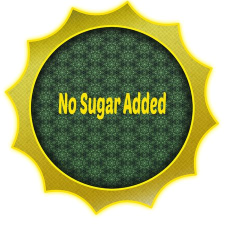 Golden badge with NO SUGAR ADDED text. Illustration graphic design concept image