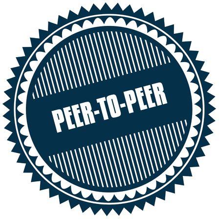 Round PEER TO PEER blue sticker. Illustration image concept