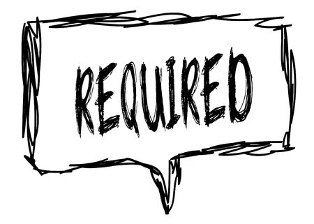REQUIRED on a pencil sketched sign. Illustration graphic concept. Фото со стока