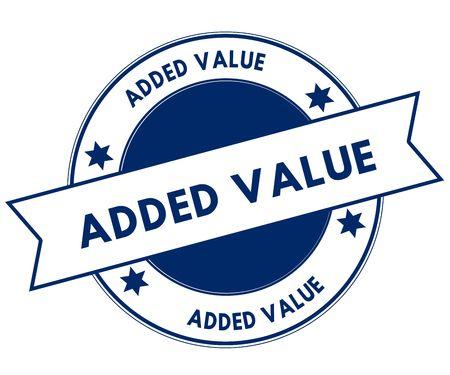 Blue ADDED VALUE stamp. Illustration graphic concept image