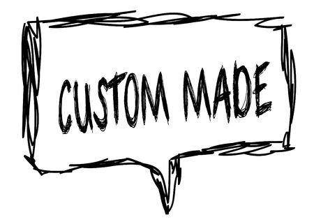 CUSTOM MADE on a pencil sketched sign. Illustration graphic concept. 版權商用圖片