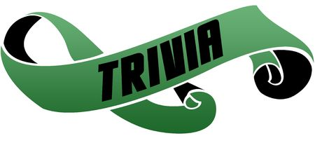 Green scrolled ribbon with TRIVIA message. Illustration image