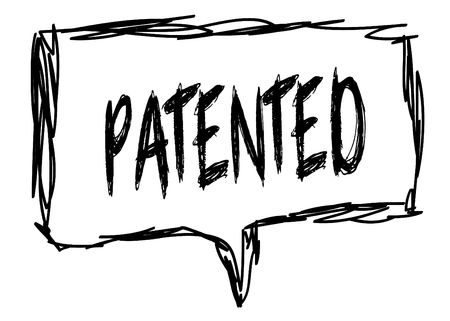 PATENTED on a pencil sketched sign. Illustration graphic concept.