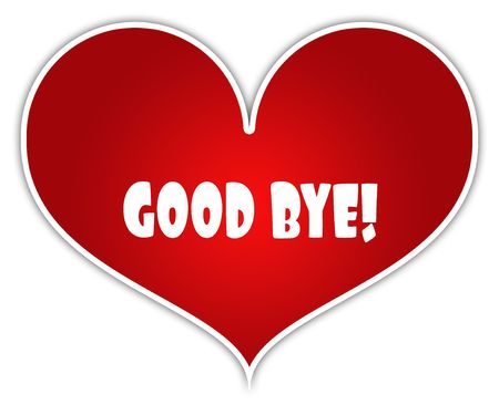 GOOD BYE   on red heart sticker label. Illustration concept Stock Photo