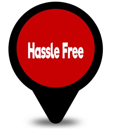 HASSLE FREE on red location pointer illustration graphic Stock Photo