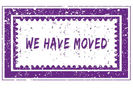 WE HAVE MOVED in magenta grunge square frame stamp. illustration image