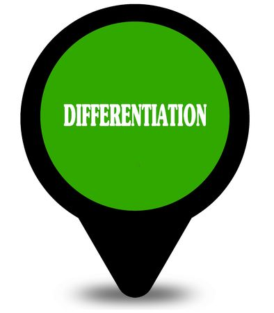 DIFFERENTIATION on green location pointer graphic. Illustration