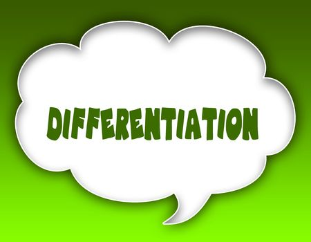 DIFFERENTIATION message on speech cloud graphic. Green background. Illustration 스톡 콘텐츠