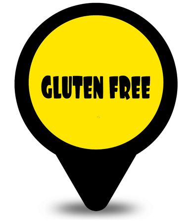 Yellow location pointer design with GLUTEN FREE text message. Illustration