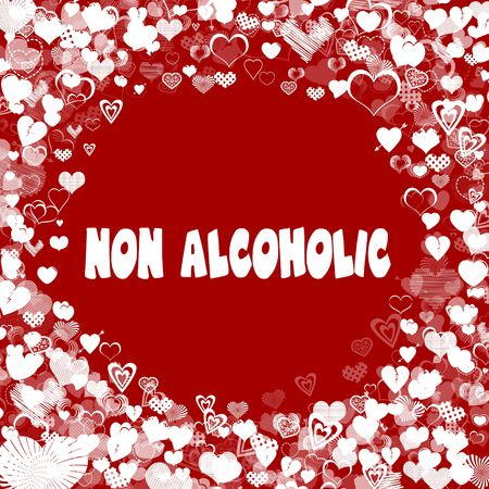 Hearts frame with NON ALCOHOLIC text on red background. Illustration Stock Photo