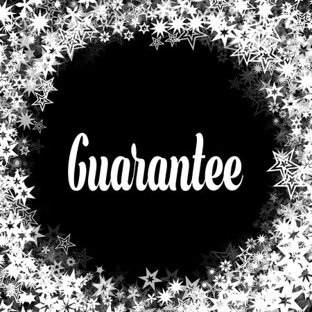 GUARANTEE on black background with different white stars frame. Illustration Stock Photo
