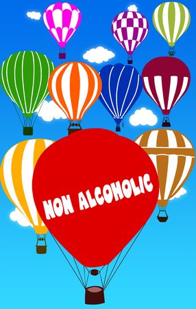 NON ALCOHOLIC written on hot air balloon with a blue sky background. Illustration