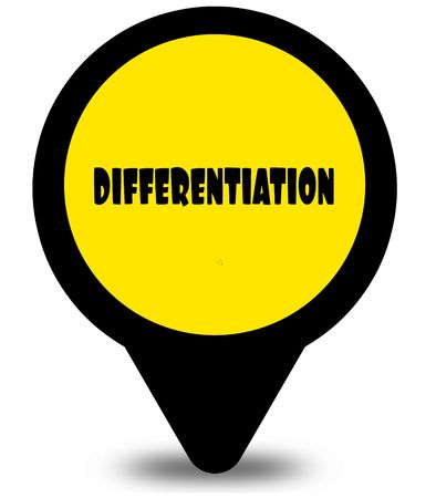 Yellow location pointer design with DIFFERENTIATION text message. Illustration