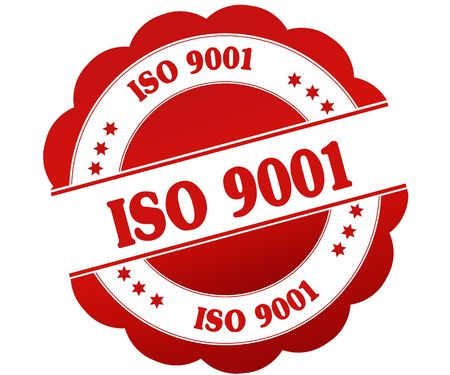 ISO 9001 red round rubber stamp. Illustration graphic concept