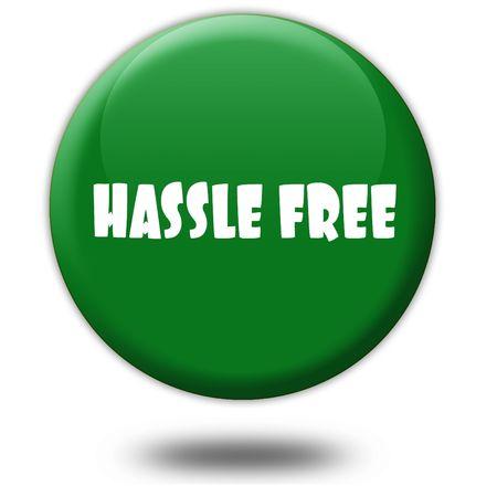 HASSLE FREE on green 3d button. Illustration graphic design concept image Reklamní fotografie