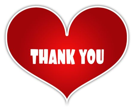 THANK YOU on red heart sticker label. Illustration concept Reklamní fotografie