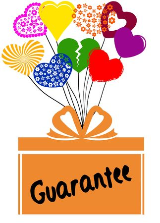 GUARANTEE on gift box with multicoloured hearts. Illustration concept Stock Photo