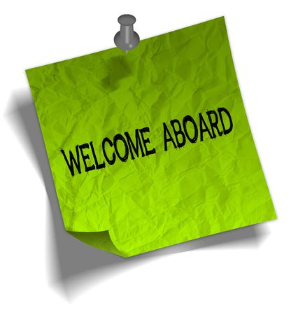 Green note paper with WELCOME ABOARD message and push pin graphic illustration.