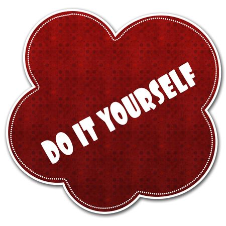 Red pattern cloud with DO IT YOURSELF text written on it illustration.