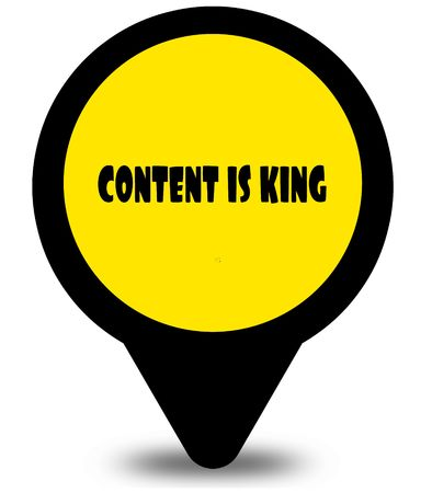 Yellow location pointer design with CONTENT IS KING text message. Illustration
