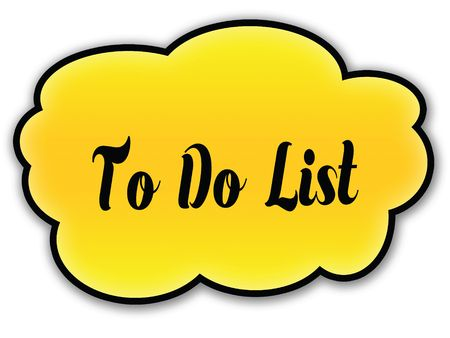 TO DO LIST handwritten on yellow cloud with white background. Illustration