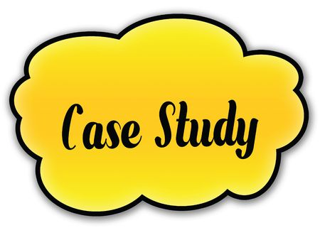 CASE STUDY handwritten on yellow cloud with white background. Illustration Imagens